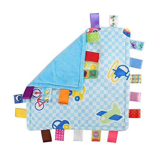 G-Tree bébé nourrisson Taggy Couverture Soft Touch en peluche sécurité colorée confortable taggie Presant Blue Car, meilleur cadeau cadeau pour les bébés