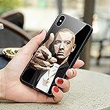 MOLLYGIRLS Coque pour iPhone XR, Cas de téléphone Pare-Chocs en Silicone trempé de Couverture arrière en Verre trempé ZL-32 Eminem Marshall Bruce