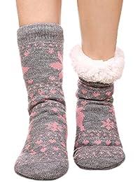 FRALOSHA Mujer Invierno Calcetines Además de cachemira Mantener caliente Calcetines femeninos Engrosamiento Antideslizante…