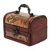 Jeteven Antik Schatztruhe Holz Truhe, Vintage Schatzkiste klein, Schmuckkasten Geschenkbox aus Holz mit griffe 12 x 8 x 8.5cm Landkarte