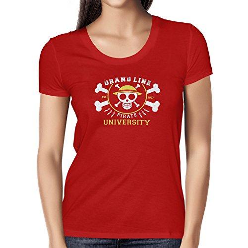 TEXLAB - Grand Line Pirates University - Damen T-Shirt Rot