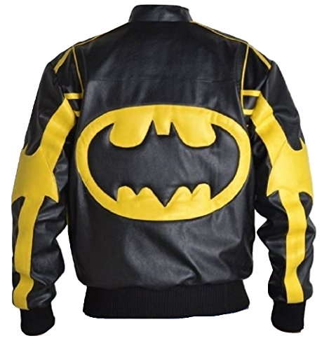 Moda Hombre de Batman funda de piel chaqueta color negro Negro Sheep Leather Black Medium