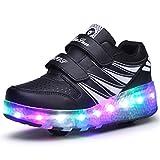 Unisex Enfants Chaussures à Rouleaux LED Outdoor avec roulettes Doubles Bouton Poussoir Ajustable lnline Skates Baskets Course à Pied Sneakers pour Garçons Filles (37 EU, Rose Noire Double Roue 02)