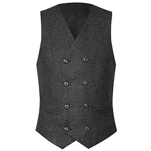 Zicac Herren Top Entworfene Beiläufige Slim Fit Dünnes Kleid Weste 2 Taschen Doppel 4 Tasten Tweed Anzug (Grau, M) (Tweed-taste)