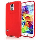 NALIA Handyhülle für Samsung Galaxy S5 S5 NEO, Hülle Ultra-Slim Silikon Case, Dünne Crystal Schutzhülle, Etui Handy-Tasche Back-Cover Bumper, Gummihülle für Samsung S5 Neo S5 - Matt Rot