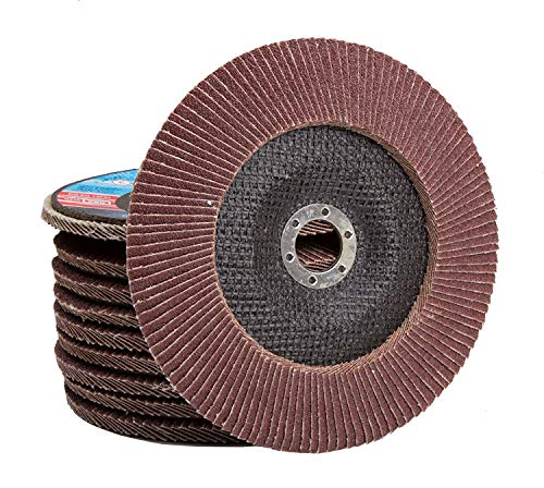Falon Tech - Discos abrasivos (10 unidades, 115 x 22,2 mm, K60, grano P60), color marrón