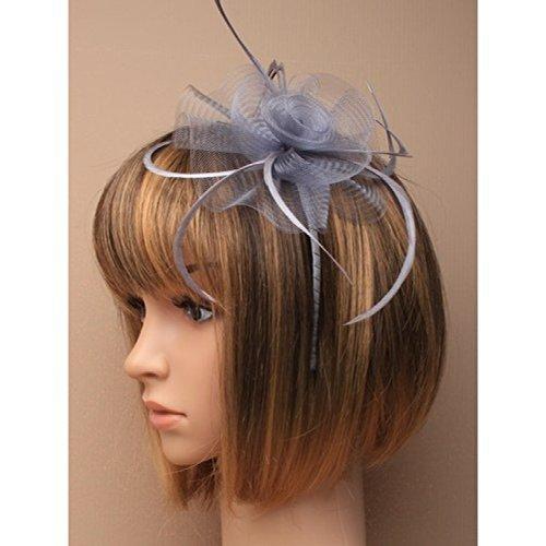 5875Silber Grau Netz-Blume und Feder fascinator auf farblich passendem Satin bezogen schmalen Haarreif Hochzeit Races