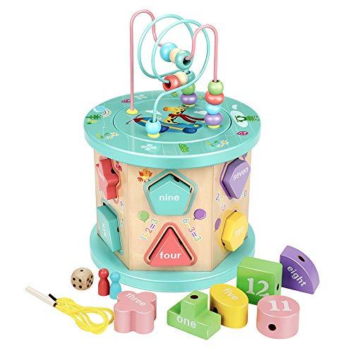 Babyhelen Motorikwürfel Holz, Kinder Montessori Spielzeug Aktivitätswürfel mit Drehspiel, Steckspiel, Sortierspiel für Kinder und Kleinkind Spielzeug