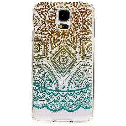 delightable24 Cover Case in Silicone TPU per Smartphone SAMSUNG GALAXY S5 / S5 NEO - Mandala Turchese