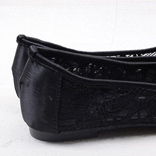 WYMBS Télévision avec des sandales femme bouche peu profonde bow chaussures plates creuses chaussures de travail Black