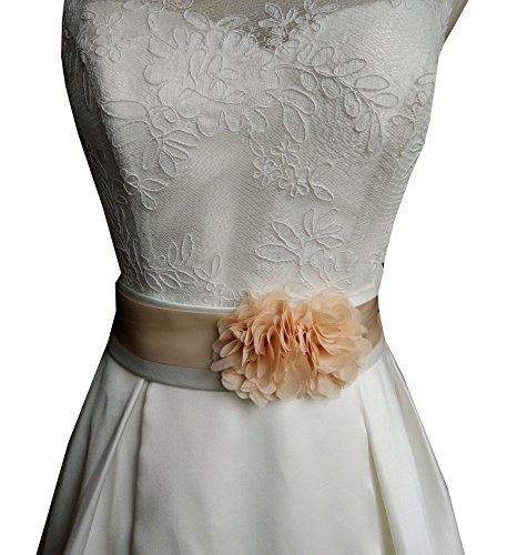 Cinturón hecho a mano de Lemandy, diseño con dos flores, para vestidos de novia o de fiesta, B2 Beige champán Talla única