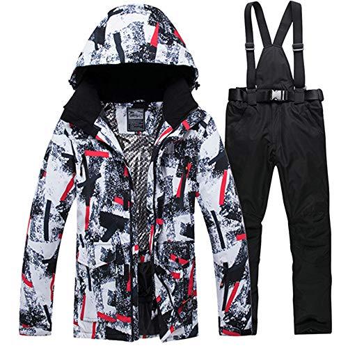 Ski Suit Jacket Suits Tuta da Sci Invernale per Uomo Giacche E Pantaloni Impermeabili Antivento Caldi Giacca da Sci da Sci da Uomo Mimetica Nera M