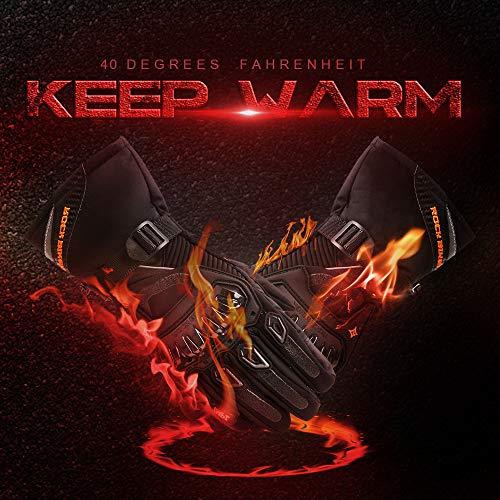 Motorrad Handschuhe Winter Warm Handschuhe Touch Screen Wasserdicht Winddicht Sporthandschuhe ( XL,Schwarz) - 8