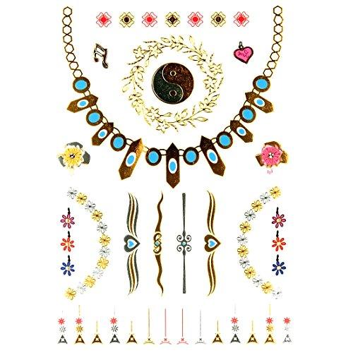 c Folie Sortiment Finger Temporäre Tattoo Halskette Armband Ying Yang Tai Chi Pfeil (Set mit 2) ()