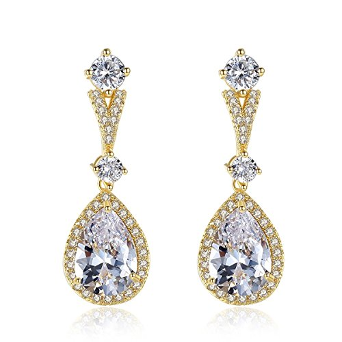 Crystal Earring, Water Droplets Stud Earring Copper Inlay 18K Mosaic Zircon Earring Platinum Plating Exquisite Simple Crystal Earring Diamond Gem Personality High Grade Jewelry Women (Color : Gold)
