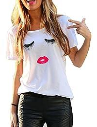 Imixcity Camiseta de Verano Para Mujer Cute Labios Pestañas Impreso Manga Corta Tops Blusa Casual Señoras