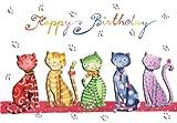 Doppelkarte mit Umschlag ~ Nina Chen ~ Happy Birthday Katzen