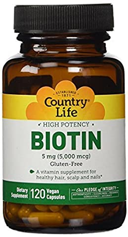 Country Life High Potency Biotin 5 mg Vegetarian Capsules, 120-Capsules by Country Life