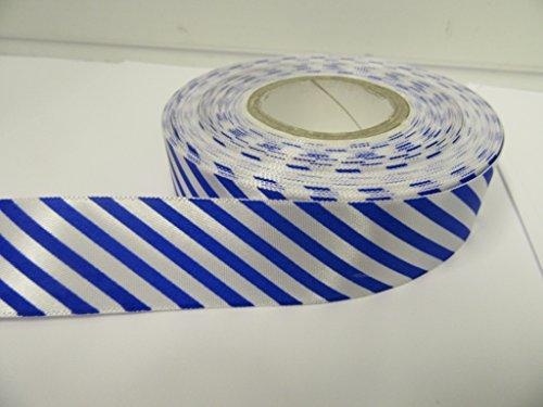 2Meter x 25mm Candy Stripe Band, Barber Shop Streifen, diagonal 25mm (Royal Blau)