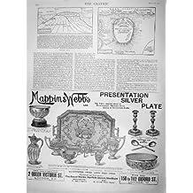 Guerre de Boer de Spion Kop de Bataille de Carte de Croquis 1900 Mappin Webb