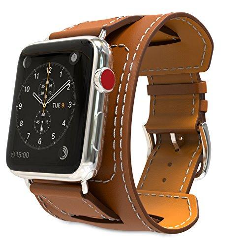 MoKo Armband für Apple Watch Series 3 / 2 / 1 38mm, Cuff Lederarmband Wrist Band Uhrband Uhrenarmband Erstatzband Uhr Band mit Schnalle und Mentallschließe für Apple Watch Sportuhr 38 mm Nike+ 2017, Braun