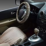 Hivel Winter Leopard Plusch Lenkradbezug Set mit Feststellbremse Shift Knob Bezuge Weich Warm Lenkradhulle Universal Anti Rutsch Lenkradschoner Fahrzeug Auto Lenkradabdeckung Vehicle Car Steering Wheel Cover 38cm - Braun