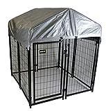 Maxx - Hundezwinger für Draußen mit Dach und Tür - Hundehütte Hundekäfig Sonnendach Hundehaus Hütte - 1,2 x 1,2 x 1,35m