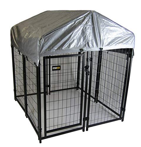 Maxx - Hundezwinger für Draußen mit Dach und Tür - Hundehütte Hundekäfig Sonnendach Hundehaus Hütte (1,2 x 1,2 x 1,35m)