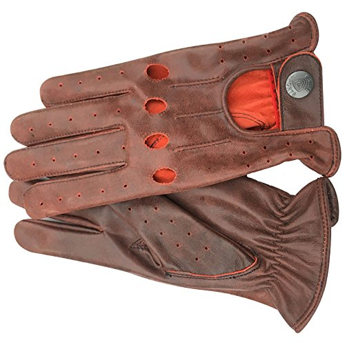 PRIME LEATHER TOP QUALITY REAL SOFT LEATHER MEN'S WITHOUT LINING DRIVING GLOVES RETRO GLOVE IN TEN BEAUTIFUL COLOURS 507 507 - Crunch rouge