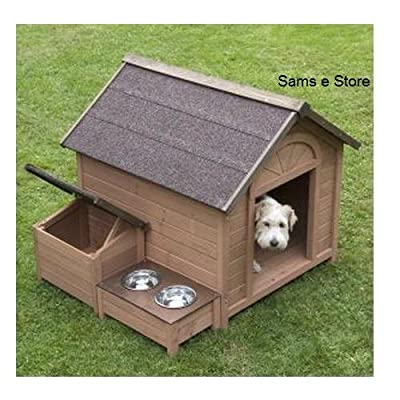 Sylvan Comfort FSC Large Dog Kennel Pup Dog House House Pet, <br>A lovely dog kennel with pitched roof which opens up, separate roofed storage section and raised feeding area. The Sylvan Comfort FSC Dog Kennel is made using FSC certified wood. by Ikcco