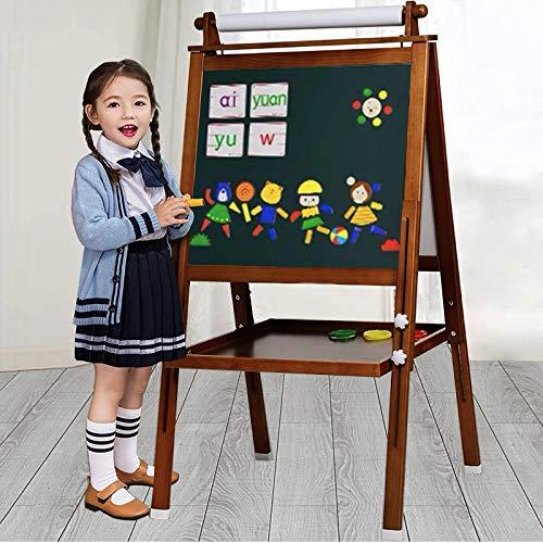Arkmiido Cavalletto per Bambini in Legno 3 in 1, Tavolo da Disegno Magnetico Fronte-Retro con ASSE di Disegno e Rotolo di Carta, magnetici Bonus, Numeri, Tazze per Scrivere (Marrone)