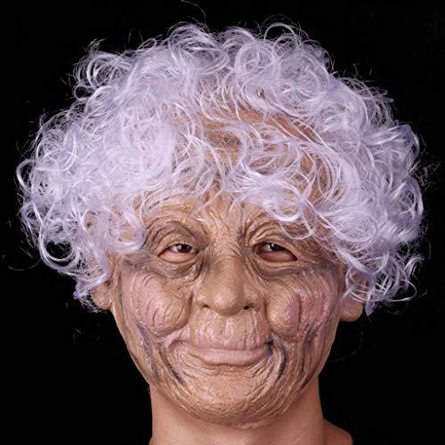 Zfggd Halloween Latex Full Face Maske Runzlig Hexe Maske Oma mit weißem Haar Kostüm Prop Party ()