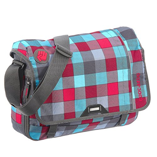 Coocazoo City and School Hang Dang Borsa a tracolla con scomparto per laptop 44 cm, hip to be a square blue pink district