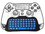 Welltop PS4 Tastatur, Mini Wireless Chatpad Gamepad Game Controller Nachricht Tastatur 2.4G Wireless Keypad Online Chat Pad für Sony Playstation 4 PS4 Controller - Schwarz mit Blau