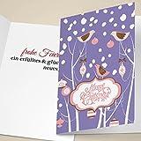 4er Set Nette Weihnachtskarten mit Vögelchen und Schnee, lila, innen blanko/weiß als geschäftliche Weihnachtsgrüße, Firmen Neujahrskarte für Kunden, Geschäftspartner, Mitarbeiter: Merry Christmas