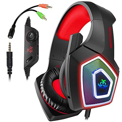 Swenter Gaming Headset für PS4, 3.5mm Surround Sound Kabelgebundenes Headset mit Mikrofon, Buntes LED-Licht, Kopfhörer für Laptop, Mac, Xbox One, Tablet, PC, Smartphone (Rot) - Ton-splitter