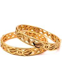 Elegantly Carved All Occasions Gold Plated Bangle With Mesmerizing Design For Women And Girls (SB3016)