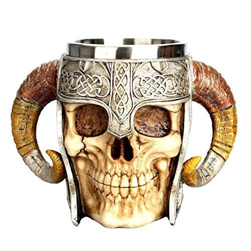 TAOtTAO Kaffee Tasse Harz auffallender Krieger Krug Viking Skull Double Wall Weihnachten Cup