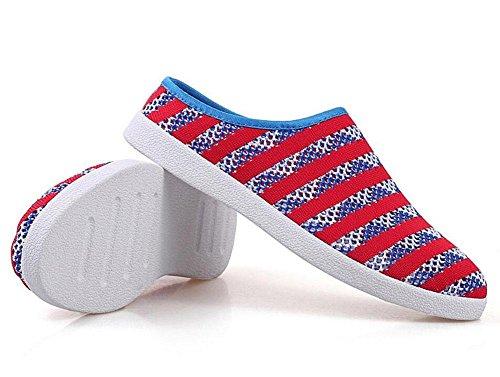 Männer öffnen sich zurück Hausschuhe Einzelne Schuhe Sommer neue fliegende gewebte Mesh Herren Semi-Pantoffeln Einfache Mode Trend Schuhe Sandalen red blue
