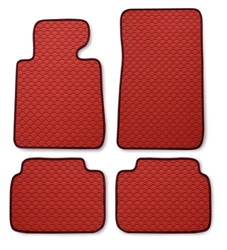 Preisvergleich Produktbild Passform Gummimatte Fussmatte OCTAGON ROT mit rot-schwarzer Bandeinfassung - passend für Renault Clio Modell Collection ab Bj. 11/12 mit Mattenhalter Fahrermatte