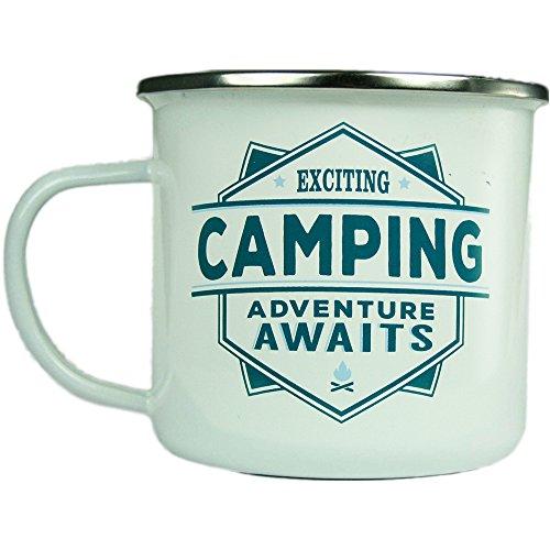 H & H Top Guy Tasse Camping, groß, Emaille, ca. 400 ml, mehrfarbig, leicht, Retro-Design inspiriert für Männer und Frauen Family Guy Bier