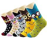 Neuheit Socken Baumwolle Crew Einhorn Eule Katze Bauernhof Prinzessin Meerjungfrau Socken-Cartoon Tier lustige Socken-5 Pack Weihnachten Socken Geschenk Box Größe 4-8 (Eule Socken)