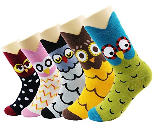Novedad calcetines de algodón Crew Unicorn Owl Cat Farm Princesa Mermaid Socks- Paquete de 5 calcetines de Navidad Tamaño de la caja de regalo 4-8 (historia de búho)