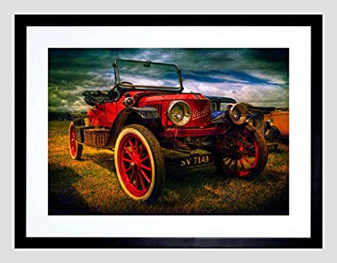 VINTAGE RED OLD CAR CLASSIC AUTOMOBILE BLACK FRAMED ART PRINT PICTURE B12X9417