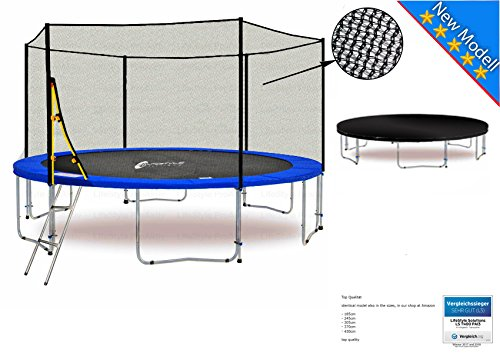 LS-T400-PA13 (BW) LifeStyle ProAktiv Garten- Trampolin 400 cm - 13ft - Extra Starkes Sicherheitsnetz - 180kg Traglast - Neu