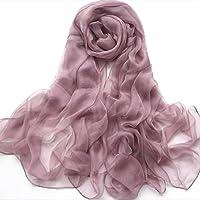 Sciarpe di seta Telo modo di colore puro Radice di loto rosa dello scialle della sciarpa solido seta del raso di colore crema solare Sciarpa 180 * 100CM