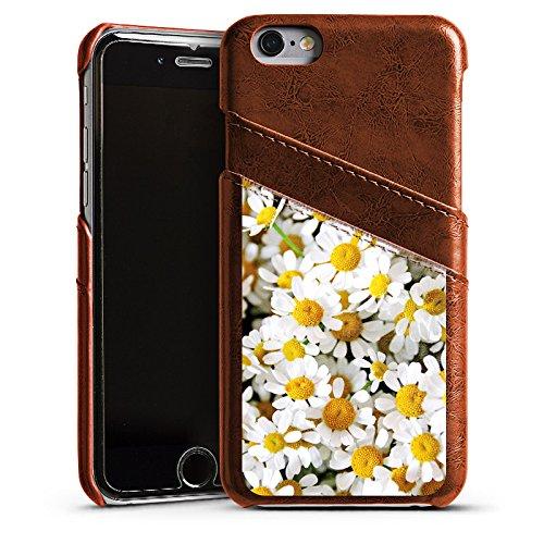 Apple iPhone 5s Housse Étui Protection Coque Pâquerette Camomille Fleurs Étui en cuir marron