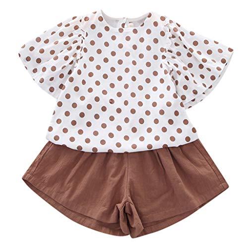 SCEMARK Mädchen Kleidung Sets, Sommer Elegant Baby Mädchen Punktdruck Fliegenhülle Oberteile T Shirt + Einfarbig Shorts Outfits Set -
