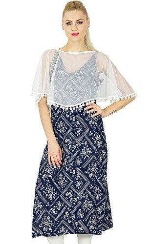 Bimba Frauen klassischer Chic Kurta Mit Poncho Net oberhalb Glatt Bluse Signature Collection Blau und weiß