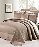 BNF Home Matt Satin 4 PCS Tagesdecke Set, Queen taupe